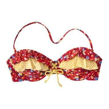 Xhilaration® Juniors Bandeau Swim Top with Ruffles - Red Floral/Yellow Check Print