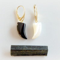 Onyx and Mother of Pearl Earrings - Black and White Claw Earrings - Gold Fang Dangles - Tusk Leverbacks - Khaleesi Dragon Claw Earrings