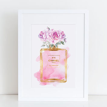 Chanel No5 print 8.5X11 in Pink roses watercolor with gold effect - Digital file Instant download Coco Chanel Chanel poster Chanel Printable