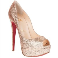 Lady peep 150 glitter nude Christian Louboutin - Designer Shoes at ShopSavannahs.com