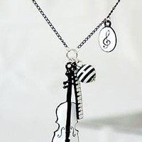 JA113 Musical Wonders Pendant Necklace, Violin & Piano Keys Necklace Jewelry
