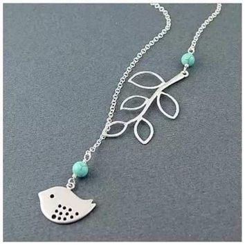 TURQUOISE SPRING Beautiful Bird Lariat Necklace