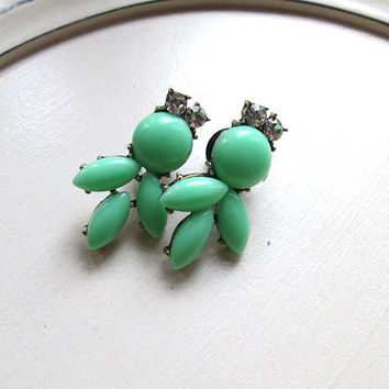 0g (8mm) Plugs for Gauged Ears - Designer inspired bubble necklace style - Mint with Rhinestones