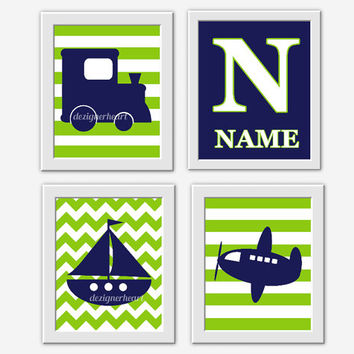 Baby BOY Nursery Wall Art Navy Blue Lime Green Train Boat Sailboat Plane Transportation Art Boy Bedroom Art Baby Boy Decor Baby Nursery Art