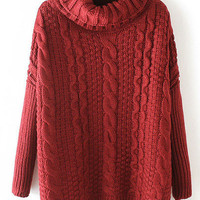 Burgundy Cowl Neck Cable Knit Sweater
