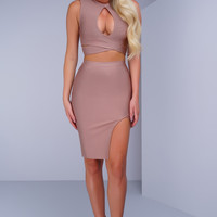 Leila Key Hole Bandage Set - Mauve