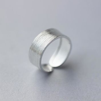 Men Women New Real. 925 Sterling Silver Matte Wide Band Chunky Ring 8MM Adjustable Size GTLJ871