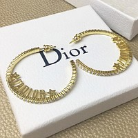 CELINE New fashion letter star diamond round long earring Golden