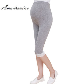 Amadrenino Women Spring Maternity Pant Leggings Capris Clothes for Pregnant Women Thin High Waist Modal Pregnancy Lace Shorts