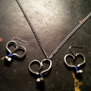 Blue wire wrapped horseshoe nail heart necklace, earrings, or necklace and earrings set jewelry