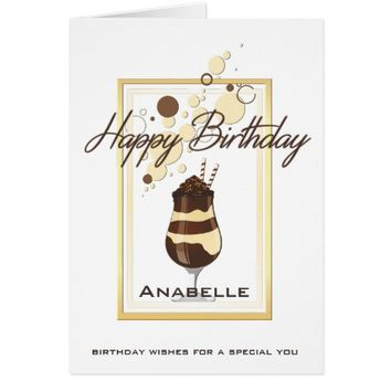 Elegant Chocolate Vanilla Drink Birthday Card