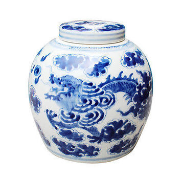 """Beautiful Blue and White Porcelain Ginger Jar Dragon Motif 9"""" with Lid"""