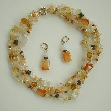Moonstone Orange Agate Pearl Crystal 3 Strand Necklace Set Gemstone Jewelry