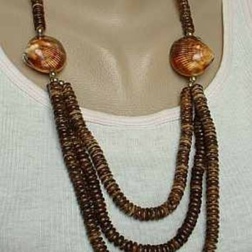Triple Strand Coconut Wood Bead Necklace Brown Vintage Jewelry