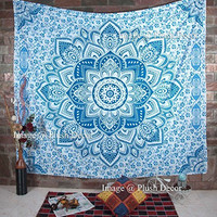 Christmas Special- Plush Decor Exclusive Mandala Tapestry Ombre Bohemian Wall Hanging Wall Tapestries Mandala Beach Throw QUEEN Size (235 x 215 cms)