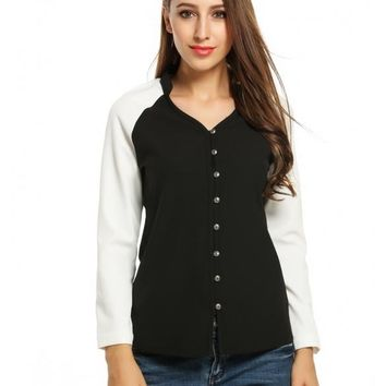 Black Women's V-Neck Long Sleeve Patchwork Casual Button Down Shirt Tops