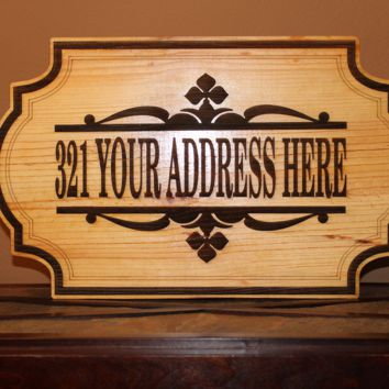 Personalized Home Address Engraved Plaque Wood Sign