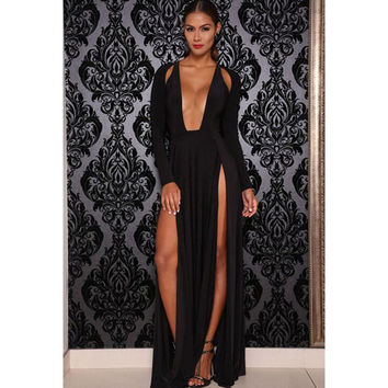 Black Hollow Out V-neck Long Sleeve Zippers Ripped Holes Ball Gown Prom Dress [6514420487]