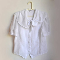 Vintage White Sheer Bow Blouse Short Sleeve Button Up Loden Frey Lodenfrey Large L