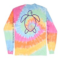 Long Sleeve Save the Turtles Logo Tie Dye Tee by Simply Southern