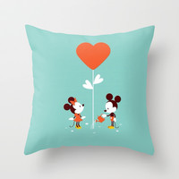 Minnie and Mickey Mouse Throw Pillow by Pink Berry Pattern