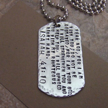 Handstamped Scripture Necklace - Isaiah 41:10  - Bible Quote Jewelry