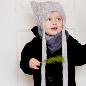 Hand knit toddler earflap hat // Light grey hat with ears and earflaps, knitted hat, 2 years, winter hat warm hat long ties, onward onward