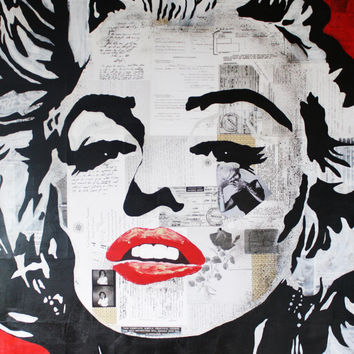 "ART Marilyn Monroe Mixed Media Canvas Acrylic Painting Contemporary Modern Art 36""x48"" By Kathleen Artist Pro"
