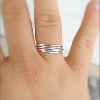 Five Extra Skinny Oxidized Black Sterling Silver Stacking Ring Set // Set of FIVE  // made to order