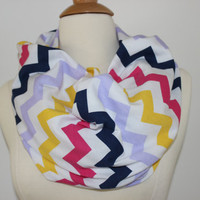Chunky MuiltiColor Chevron Scarf- MultiColor Infinity Scarf - Loop Scarf, Circle Scarf - Handmade Women's Accessory