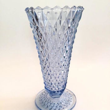 Blue Diamond Point Vase, Vintage Indiana Diamond Point Blue Glass Vase