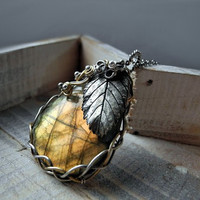 Labradorite Silver Necklace - Handmade Silver Leaf Golden Wire Wrapped Pagan Fantasy - Luxury Statement Necklace