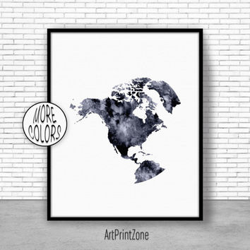 North America Map, North America Print, Globe Art, Globe Print, World Map Poster, World Map Wall Art, World Map Print, World Map Decor