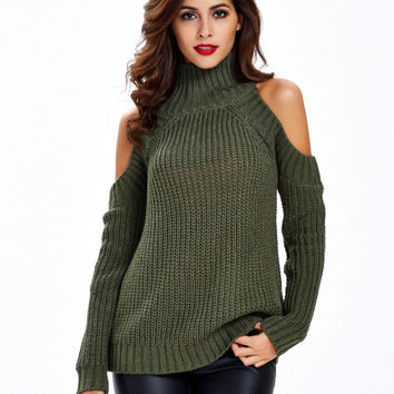 Turtleneck Off Shoulder Knitted Sweater Women Autumn Fashion Tricot Pullover Jumpers Pull Femme Over