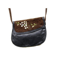 Embroidered 70s Black Leather Purse With Brown Suede Flap Small Crossbody Boho / Hippie Style Cross Body Festival Mini Bag