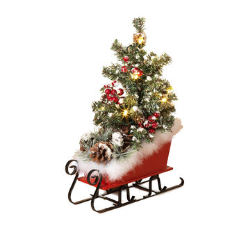 Red Sleigh Centerpiece with Lighted Pine Tree and Faux Fur Trimmed Sled - 15-in