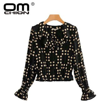 fd9d91825061 OMCHION Blusa Polka Dots 2018 Deep V Neck Sexy Blouse Women Casu