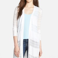 Women's Halogen Open Stitch Long Cardigan,