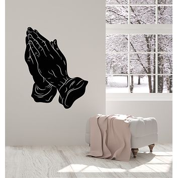 Vinyl Wall Decal Prayer Room Praying Hands Religious Symbol Stickers Mural (g1779)
