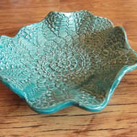 Small Ceramic Dish, turquoise lace printed ceramic soap dish