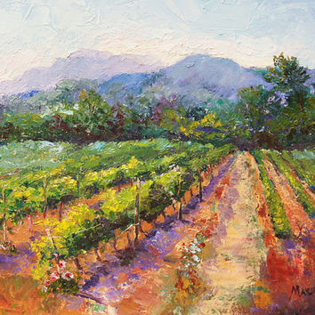 Original oil landscape painting, Spring Vineyard  Provence, 16x12 inch on box canvas