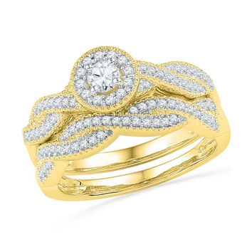 10kt Yellow Gold Womens Round Diamond Twist Bridal Wedding Engagement Ring Band Set 1/2 Cttw