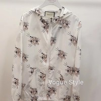 """Gucci"" Woman's Leisure  Fashion Letter Personality Printing Zipper Sun Protection Clothing Tops"