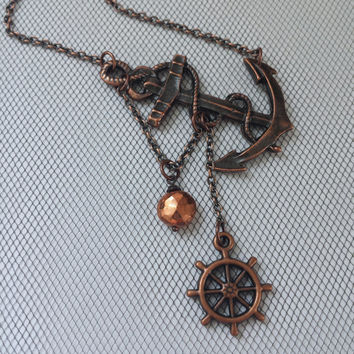Lost at Sea Necklace by SBC, Copper Pyrite Coin, Antique Copper Anchor, Ship Wheel, Anchor Jewelry, Sideways Anchor, Pyrite Anchor Necklace