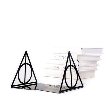 A pair of metal bookends Deathly Hallows Harry Potter Inspired // Book holders for beloved classic tale, loved by all ages // FREE SHIPPING
