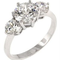 White Gold Rhodium Plated CZ Embellished Ring - Fashion Jewelry: Necklaces, Earrings, Bracelets & Rings - Modnique.com