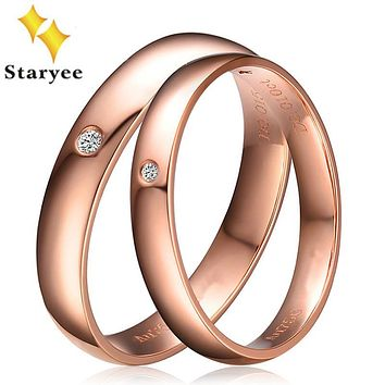 Real 18k solid rose gold his and hers wedding ring sets pair round brilliant cut 0.02ct certified SI H gift free shipping