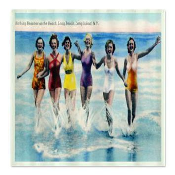 Long Island Bathing Beauties Shower Curtain> Coastal, Vintage and Urban Chic Shower Curtains> Rebecca Korpita Coastal Design