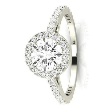 .1.5 Carat GIA Certified 14K White Gold Halo Round Cut Diamond Engagement Ring (1 Ct E Color VS1 Clarity Center)