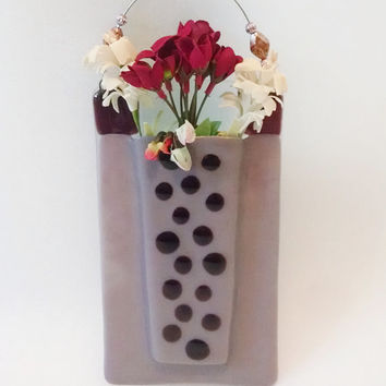 Fused Glass Vase - Wall Vase - Pink - Purple - Polka Dot - Wall Hanging - Reed Diffuser - Flower Vase - Bud Vase - Pen/Pencil Holder